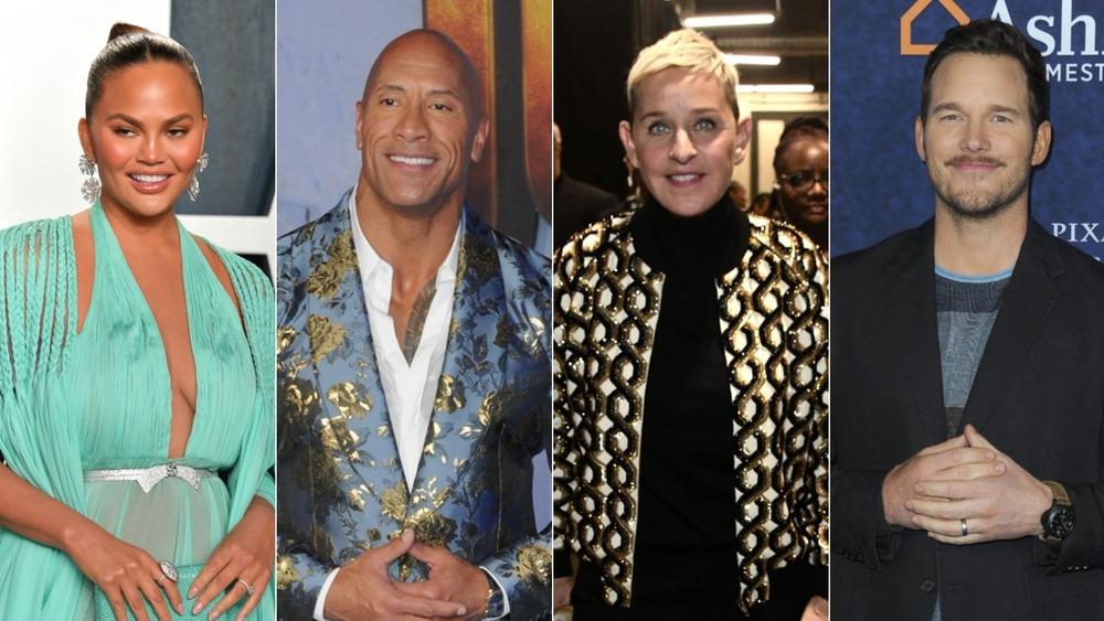 Chrissy Teigen, The Rock, Ellen DeGeneres, Chris Pratt