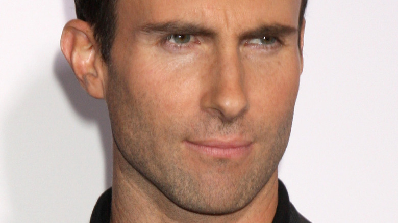 Adam Levine looking to the side with serious expression