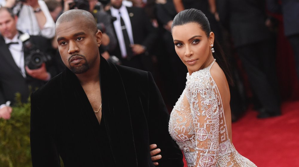 Kanye West and Kim Kardashian at a red carpet event