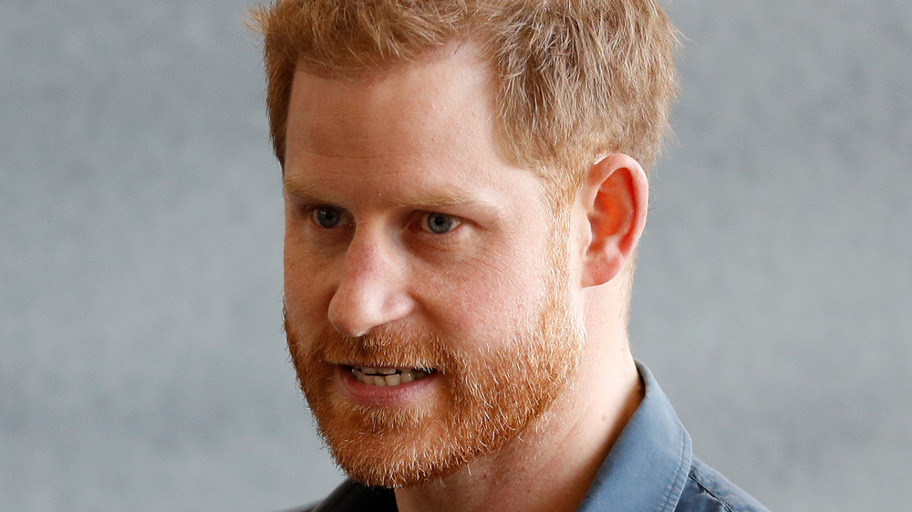 Prince Harry with mouth half-open
