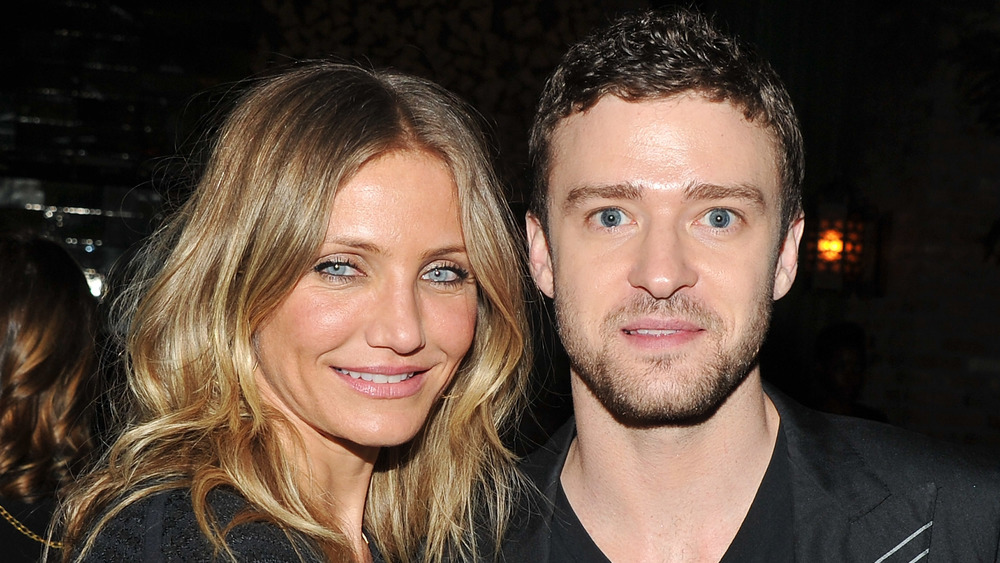 Cameron Diaz smiling next to a shocked Justin Timberlake