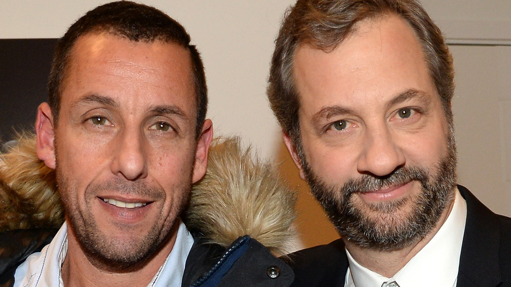 Adam Sandler poses with director Judd Apatow