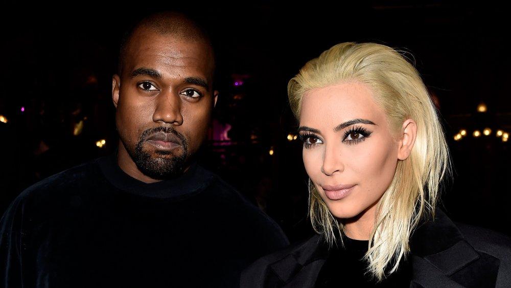 Kanye West and Kim Kardashian West at the Balmain show during Paris Fashion Week in 2015