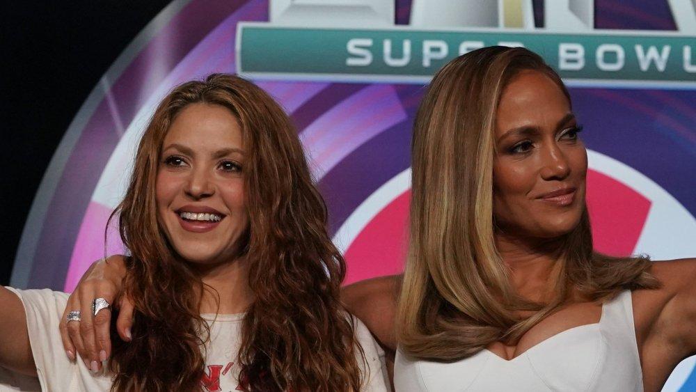 Jennifer Lopez and Shakira at the Super Bowl press conference