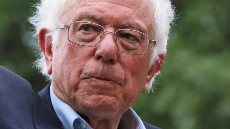 Bernie Sanders at a podium
