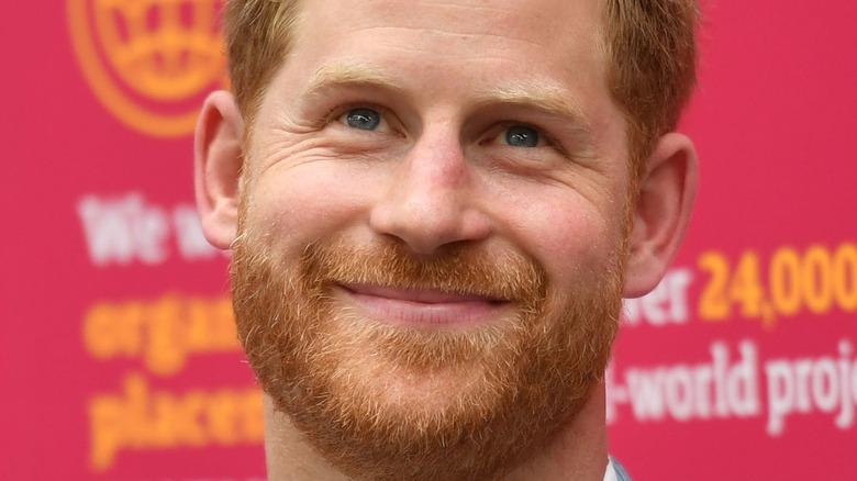 Prince Harry lips pursed