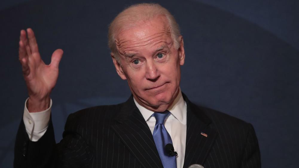 Joe Biden shrugging while speaking