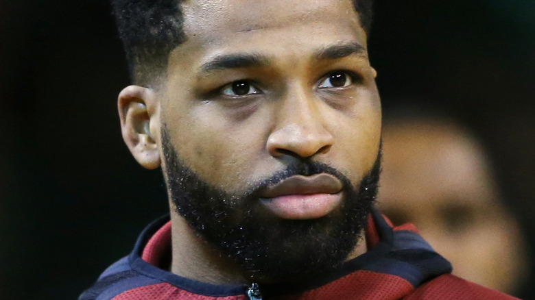 Tristan Thompson with a serious expression