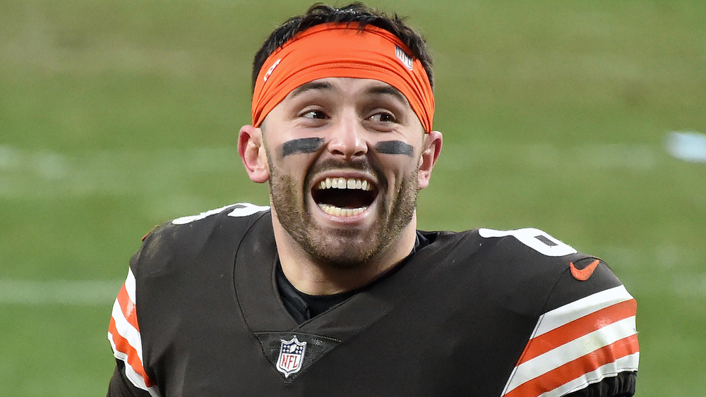 Baker Mayfield looking happy during a football game