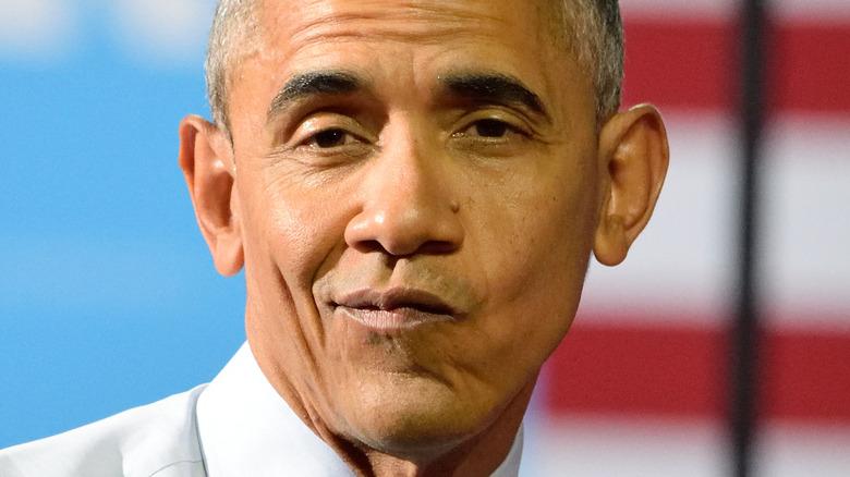 Barack Obama pursing lips