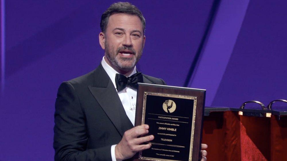 Jimmy Kimmel speaking on stage