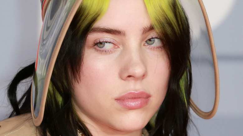Billie Eilish with a serious expression