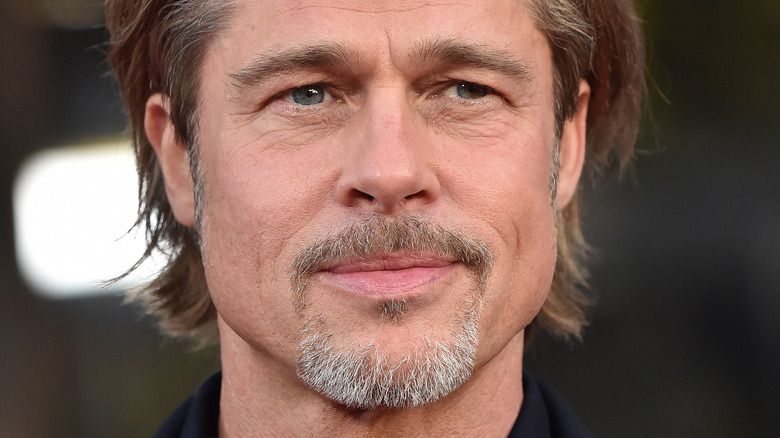 Brad Pitt looking to the side with slight smile