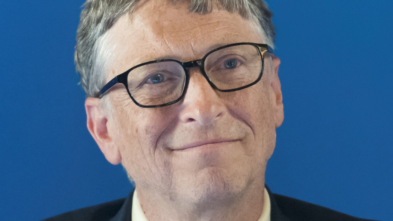 Bill Gates smiles at event
