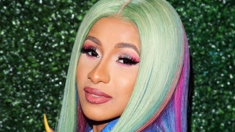 Cardi B wearing rainbow hair