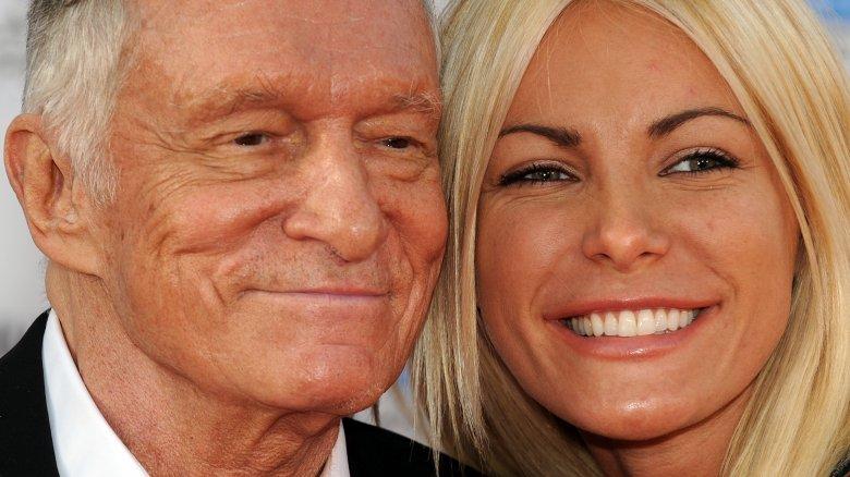 Hugh Hefner and Crystal Harris smiling