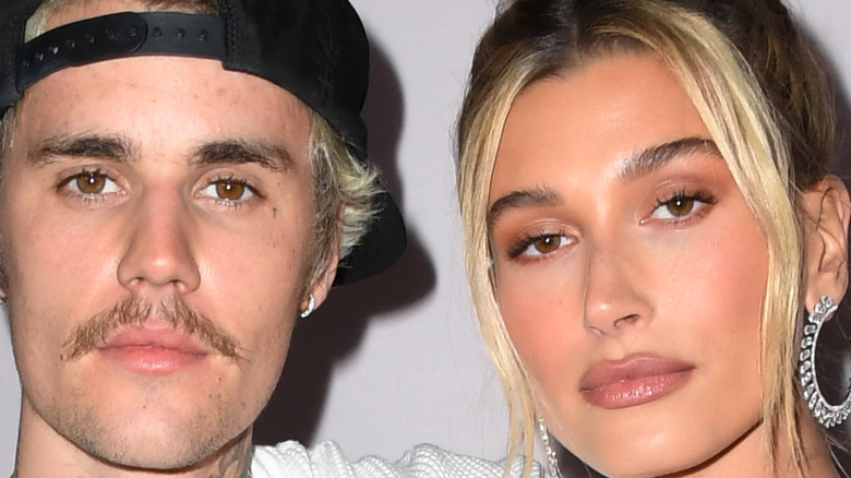 Justin Bieber and wife Hailey Bieber, looking serious