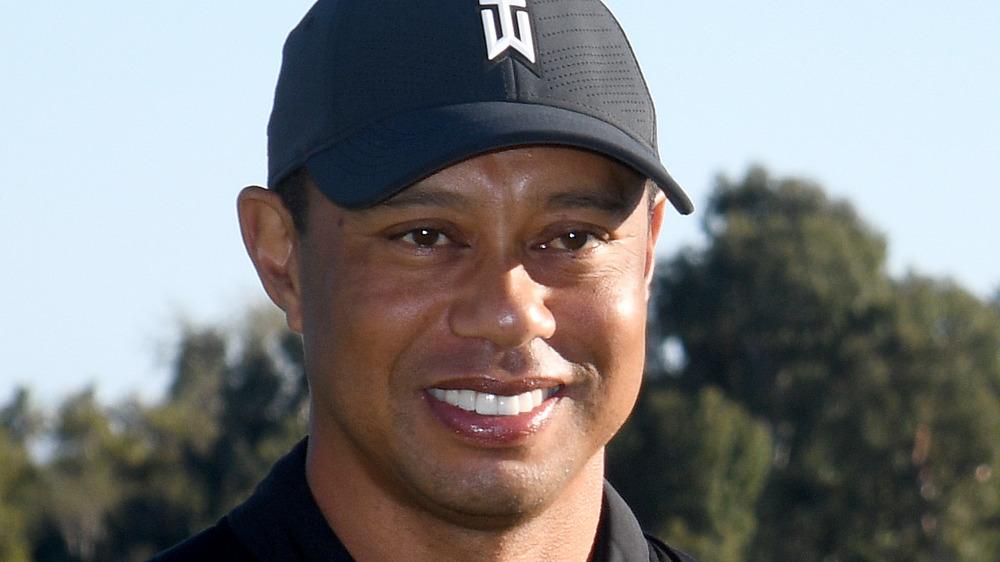 Tiger Woods in branded cap