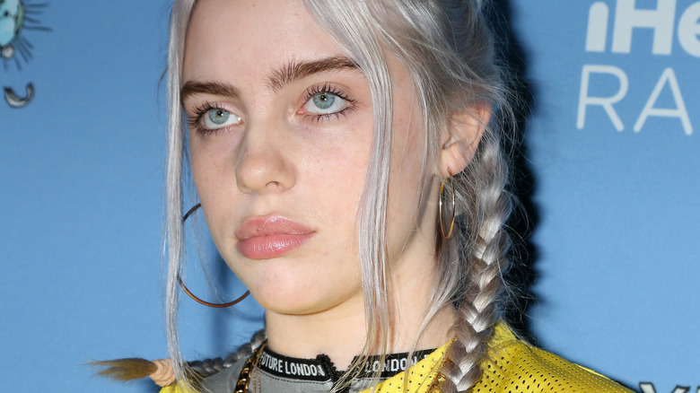 Billie Eilish posing with pigtails