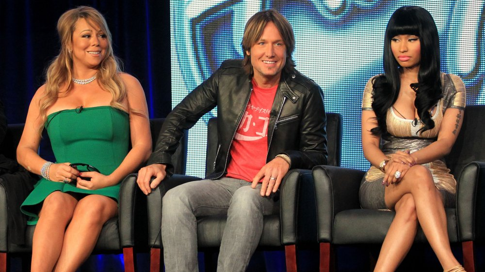 Mariah Carey, Keith Urban, and Nicki Minaj at a panel for American Idol