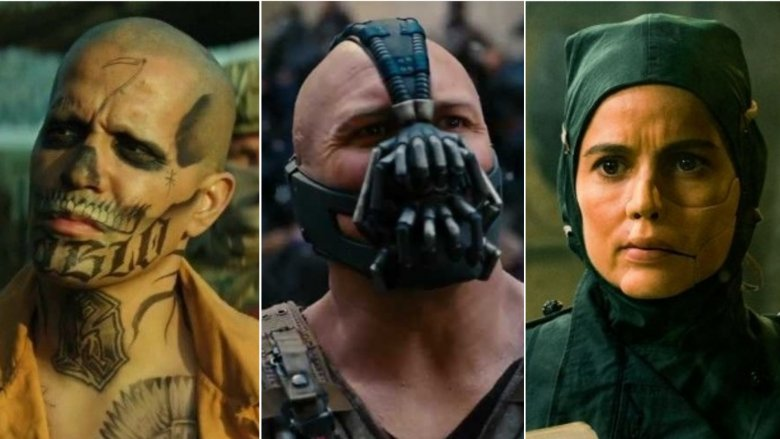Jay Hernandez as El Diablo, Tom Hardy as Bane, Elena Anaya as Dr. Maru