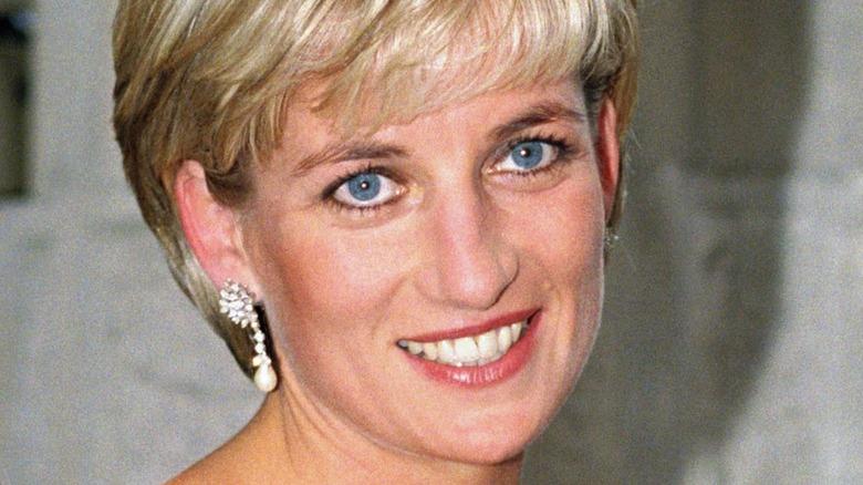 Princess Diana smiling and looking up