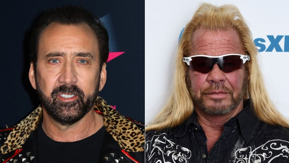 Nicolas Cage, not smiling, leopard print jacket, facial hair on red carpet; Dog the Bounty Hunter, black shirt, not smiling, sunglasses, hair down