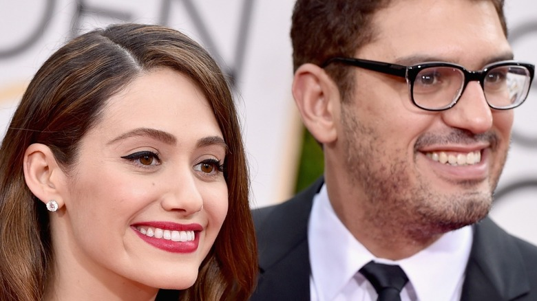 Emmy Rossum and Sam Esmail attend Golden Globes