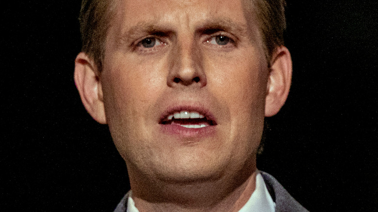 Eric Trump talking and frowning