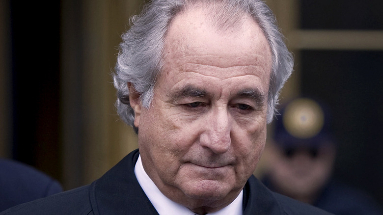 Bernie Madoff walking out of court