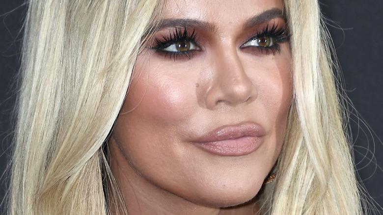 Khloé Kardashian pursing lips