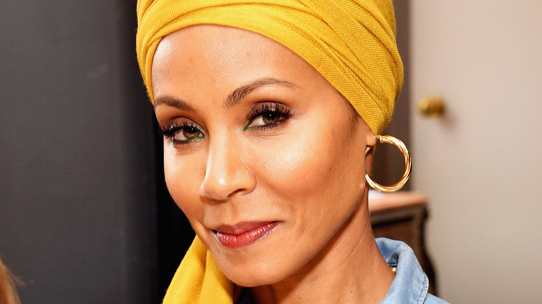 Jada Pinkett Smith wearing a yellow turban