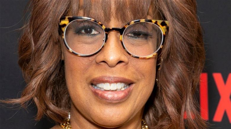 Gayle King wearing tortoiseshell glasses