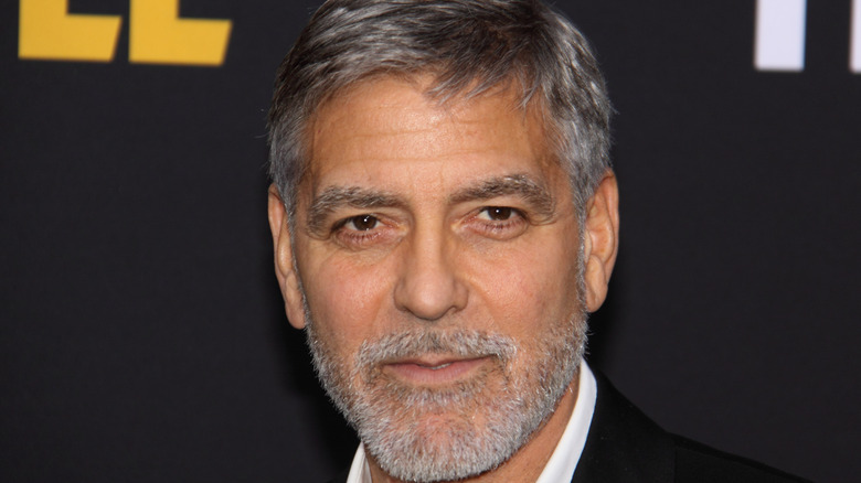 George Clooney with gray stubble