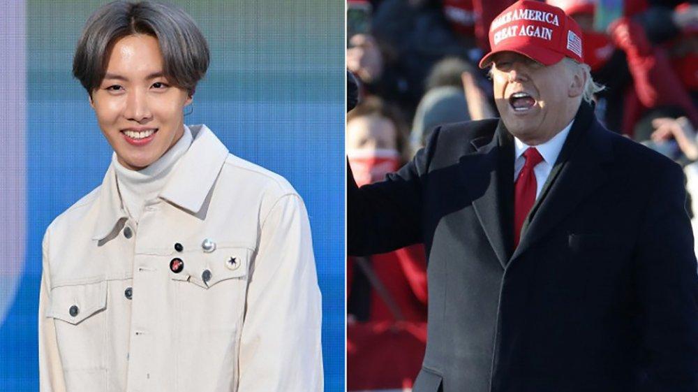 Jimin of BTS and Donald Trump