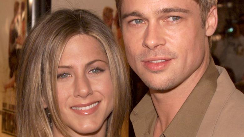 Jennifer Aniston and Brad Pitt posing together