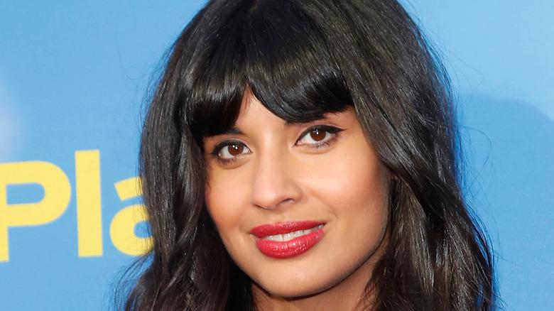Jameela Jamil on a red carpet