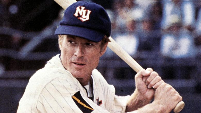 Robert Redford holding a baseball bat