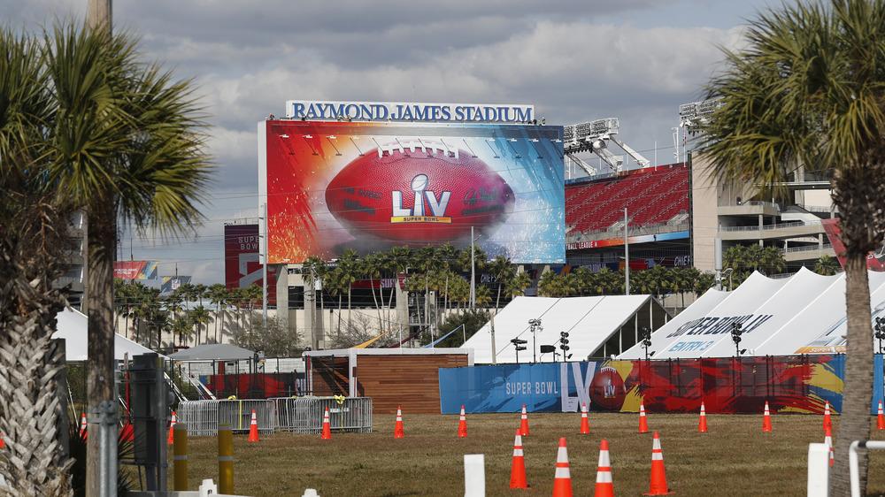 Super Bowl LV stadium and sign