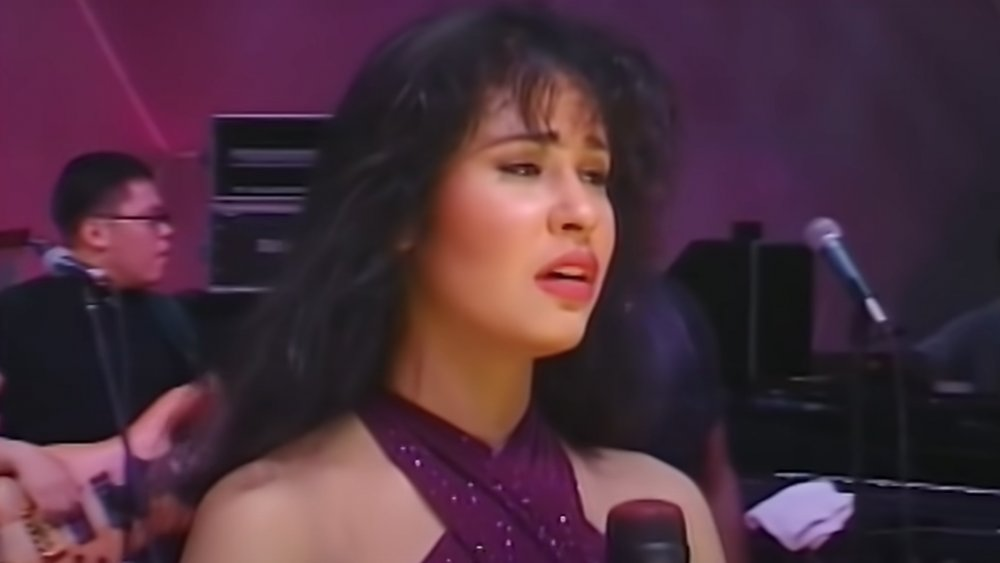 Selena Quintanilla on stage performing