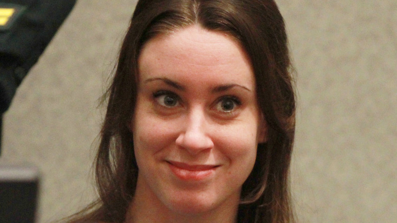 Casey Anthony smiling in court