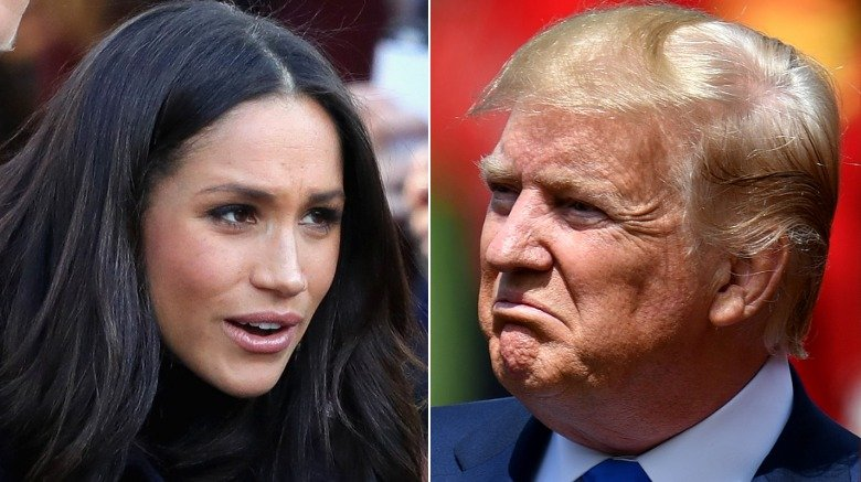 Meghan Markle at an event and Donald Trump during his state visit to the U.K.