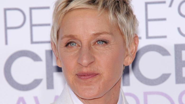 Ellen DeGeneres with pursed lips