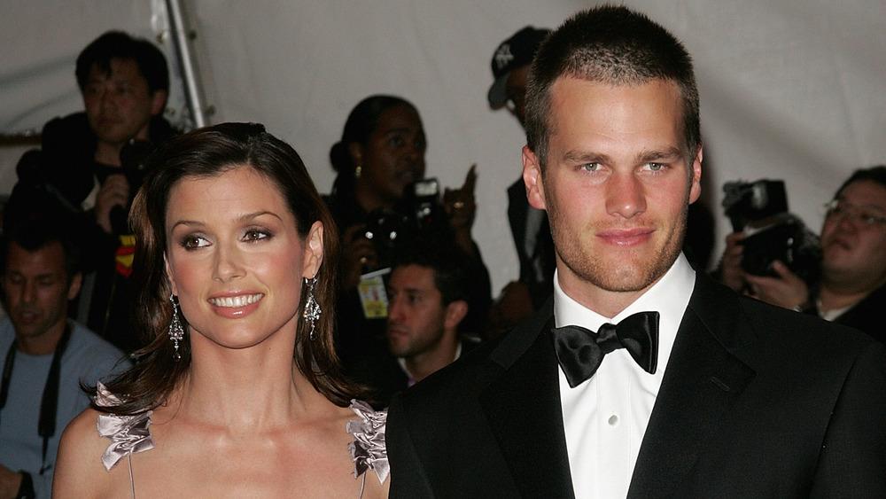 Bridget Moynahan and Tom Brady posing