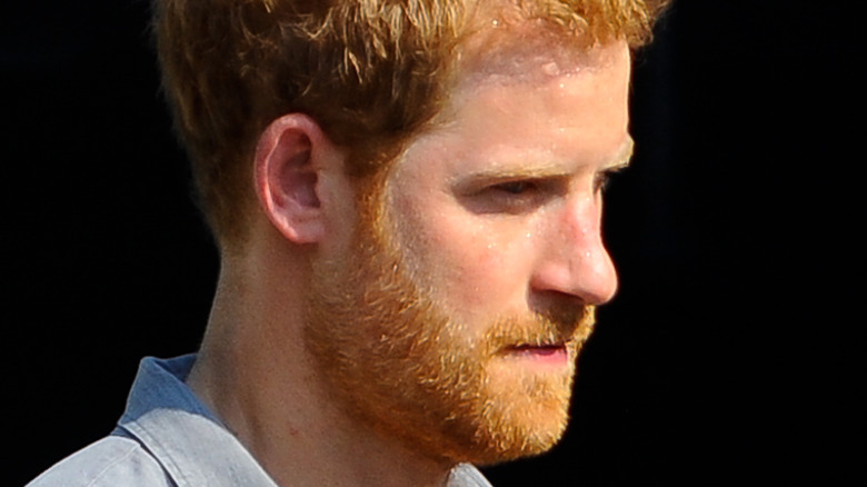 Prince Harry looks off into the distance
