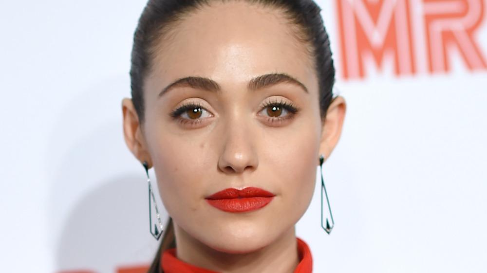 Emmy Rossum with red lipstick