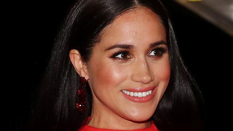 Meghan Markle wears red earrings