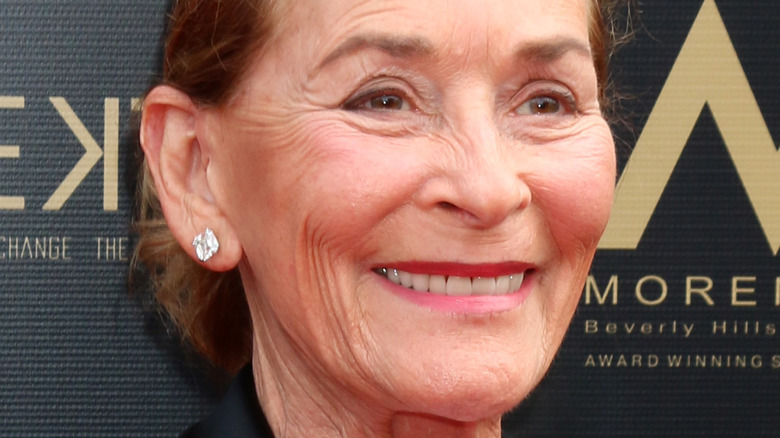 Judge Judy smiles at the Daytime Emmy carpet in 2019