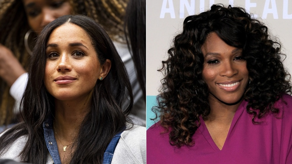 Meghan Markle and Serena Williams smiling
