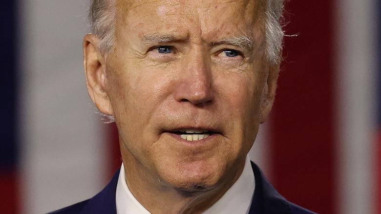 Joe Biden speaking and looking to the side
